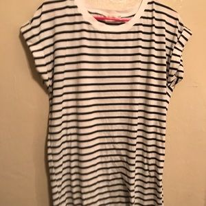 high low striped tighter fit tee shirt dress .